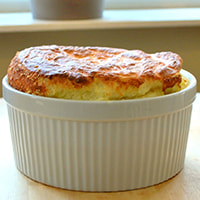 photo of a broccoli & goat cheese souffle