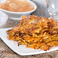 photo of crispy potato latkes & applesause