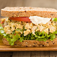 typical lunch photo of a chicken salad sandwich