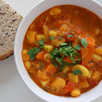 photo of a bowl of vegetable soup
